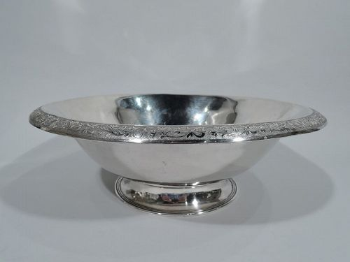 Antique Chinese Silver Bowl with Pretty Leaf Rim