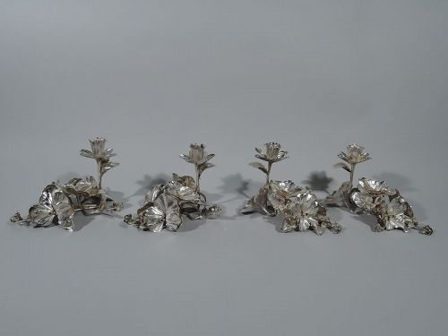 Set of 4 Sterling Silver Pretty Figural Floral Candlesticks