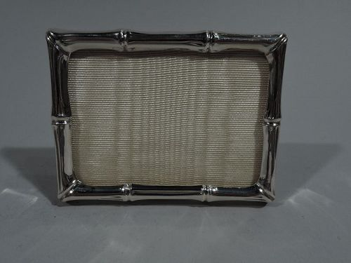 Small Tiffany Modern Sterling Silver Picture Frame in Bamboo Pattern