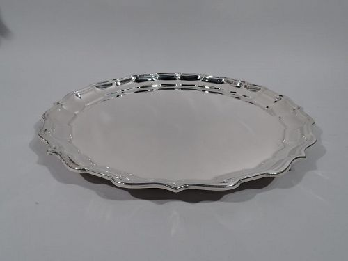 Large Frank Smith Chippendale Sterling Silver Tray with Piecrust Rim