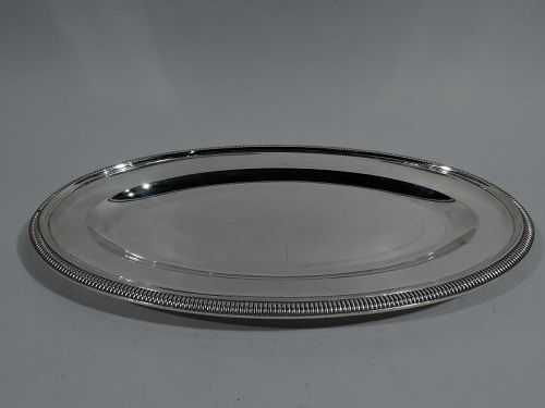 Antique French Silver Heavy Oval Serving Platter
