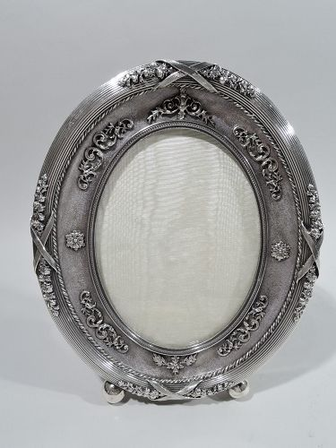Antique Russian Rococo Silver Oval Picture Frame