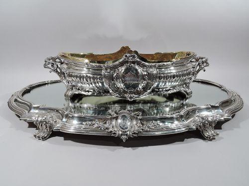 Wonderful Puiforcat French Rococo Silver Centerpiece Bowl on Plateau