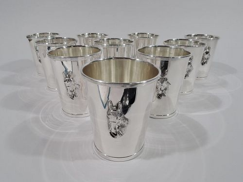 Set of 10 American Modern Sterling Silver Mint Juleps with Horse Head