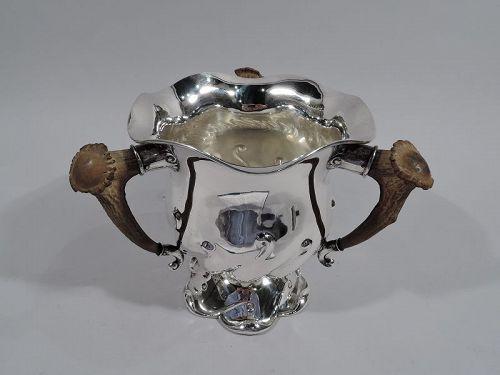 Antique Gorham Sterling Silver Alpha Antler Loving Cup Trophy