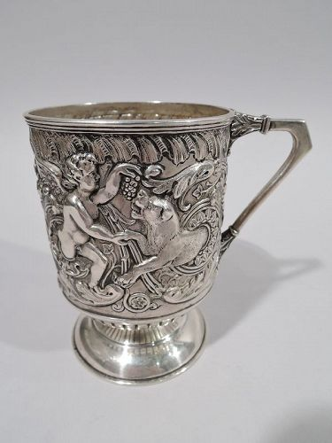 Antique English Sterling Silver Cherub & Lion Baby Cup 1888