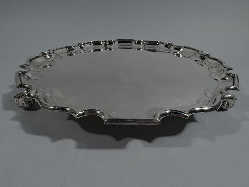 Traditional English Sterling Silver Georgian Piecrust Salver Tray 1939