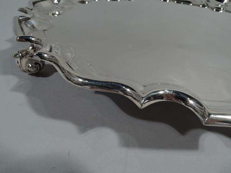 Traditional English Sterling Silver Georgian Piecrust Salver Tray 1939