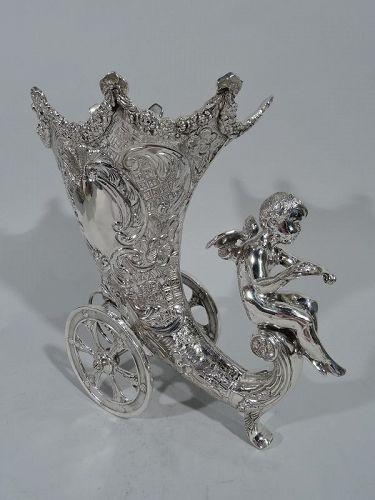 German Rococo Revival Sterling Silver Centerpiece Cornucopia Vase