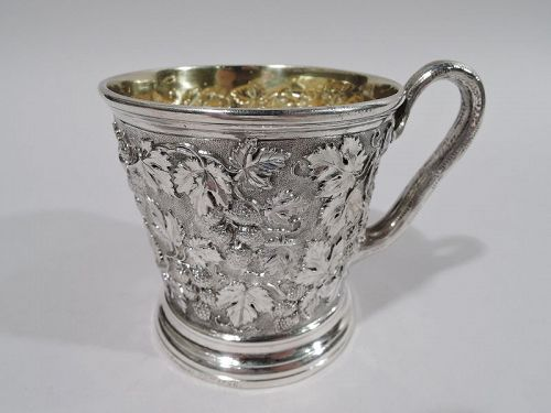 Antique English Victorian Sterling Silver Baby Cup with Berries 1856