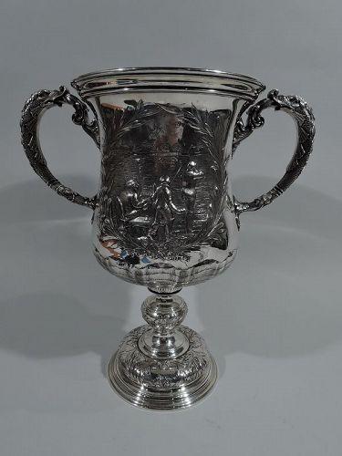 Large Antique Gorham Sterling Silver Bird Shoot Trophy Cup 1892