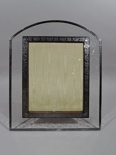 Art Deco Sterling Silver & Glass Picture Frame Attributed to Hawkes
