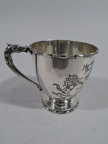 Antique Reed & Barton Edwardian Sterling Silver Nursery Rhyme Baby Cup