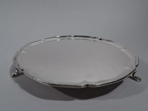 Antique English Sterling Silver Salver Tray by Crichton 1925