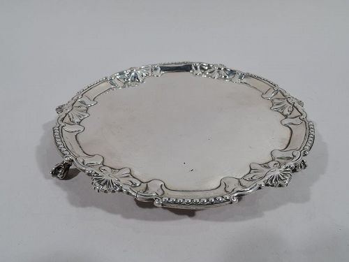 English Georgian Bead and Shell Sterling Silver Salver by Richard Rugg