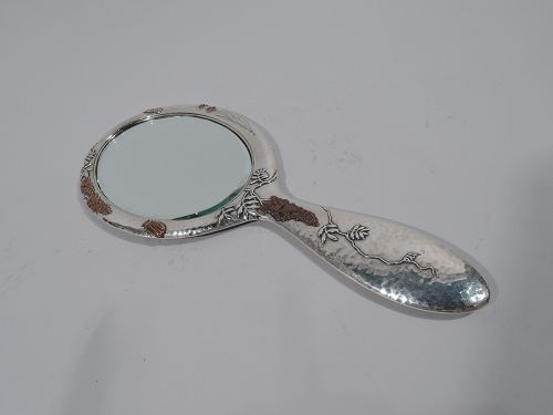 Tiffany Japonesque Mixed Metal Hand Mirror with Beetle & Butterfly