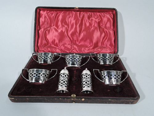 Antique English Sterling Silver & Cobalt Glass Condiment Set in Case