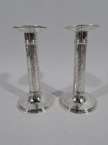 Pair of Antique American Sterling Silver Engraved Column Candlesticks