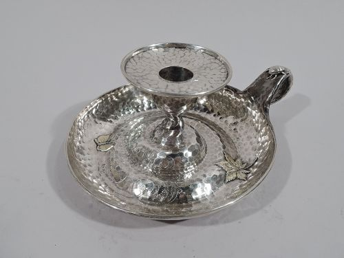 Tiffany Japonesque Applied Sterling Silver Chamberstick with Bugs