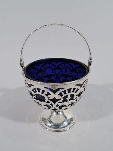 Antique Georgian-Style Sterling Silver & Cobalt Glass Sugar Basket