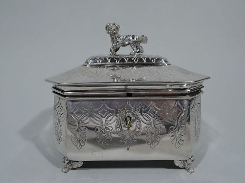 Antique Austrian Silver Sugar Box with Dog Finial C 1875
