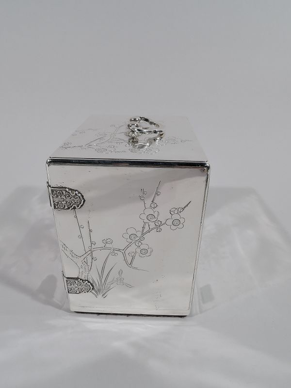 Antique Japanese Meiji-Era Silver and Lacquer Jewelry Box