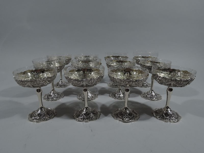 Set of 12 Antique Shreve Sterling Silver Fruit Cups in Adam Pattern