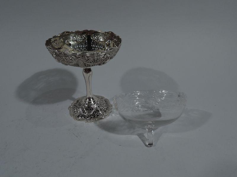 Set of 12 Antique Shreve Sterling Silver Fruit Cups in Adam Pattern