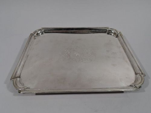 Early English Georgian Sterling Silver Rectangular Armorial Salver