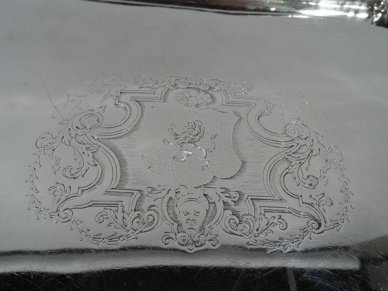 Early English Georgian Sterling Silver Rectangular Armorial Salver