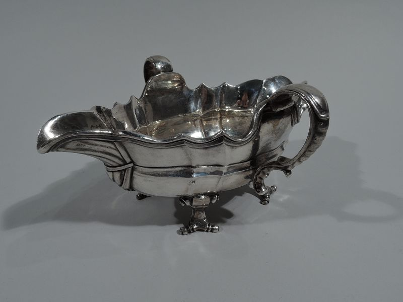 Antique German Silver Gravy Boat in 18th-Century Classical Style