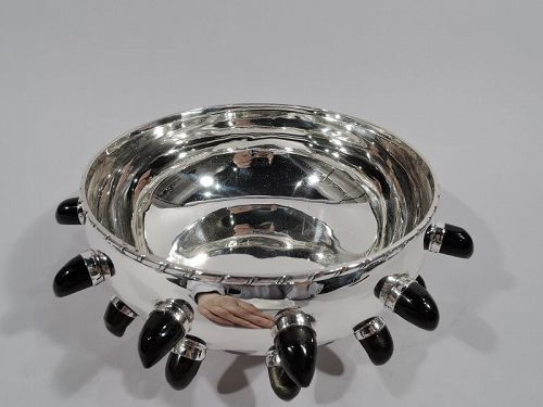 Mexican Midcentury Modern Sterling Silver & Obsidian Bowl by Tane