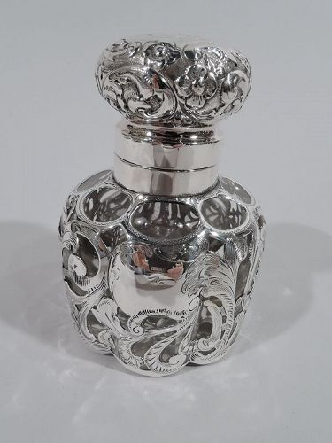 Antique American Art Nouveau Silver Overlay Inkwell