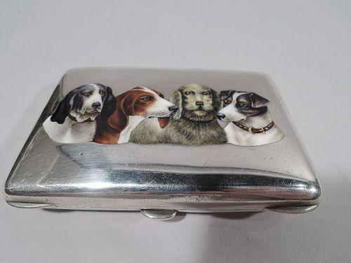 Antique German Silver & Enamel Hound Dog Canine Case