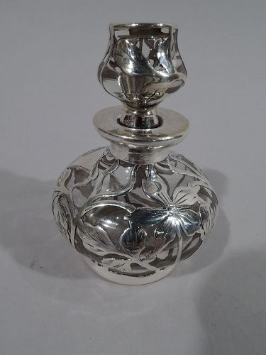 Antique American Art Nouveau Silver Overlay Perfume by Matthews