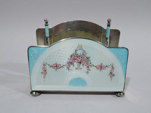 Foster & Bailey Edwardian Regency Sterling Silver & Enamel Letter Rack