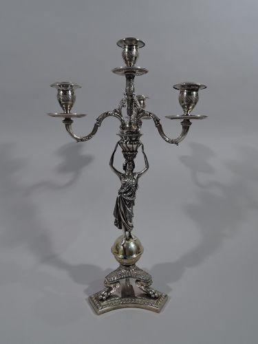 Italian Neoclassical Silver 4-Light Candelabrum