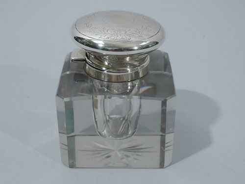 Antique American Edwardian Glass & Sterling Silver Inkwell