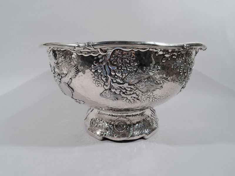 Tiffany Japonesque Applied Sterling Silver Fish Bowl Centerpiece
