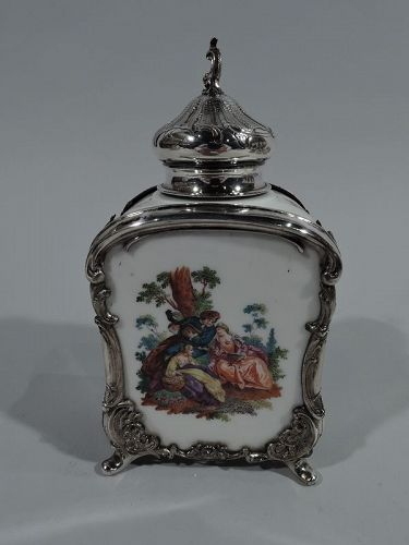 Antique German Rococo Revival Porcelain & Sterling Silver Tea Caddy