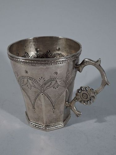 Large Antique South American Silver Faceted Mug with Animal Handle