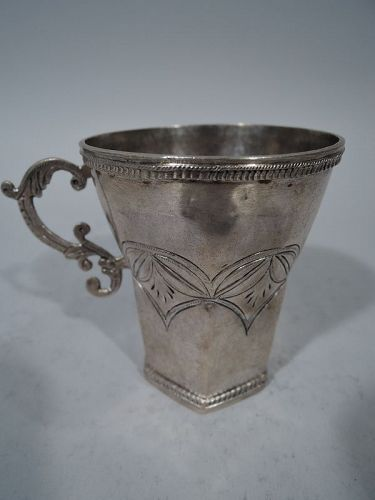 Antique South American Silver Faceted Mug with Fancy Handle