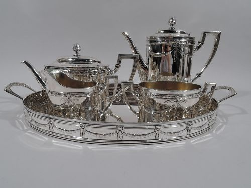 Antique Regency Revival Silver Coffee and Tea Set on Tray