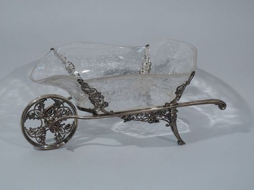 Large English Sterling Silver & Crystal Wheelbarrow Centerpiece