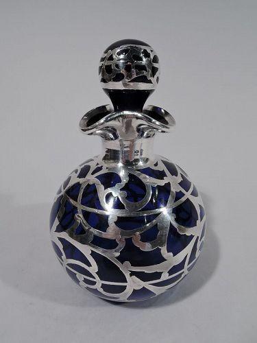 Rare Art Nouveau Cobalt Glass & Silver Overlay Perfume