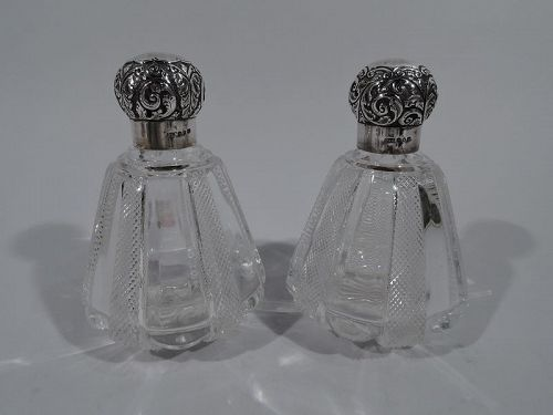Pair of Pretty Antique English Crystal and Sterling Silver Perfumes