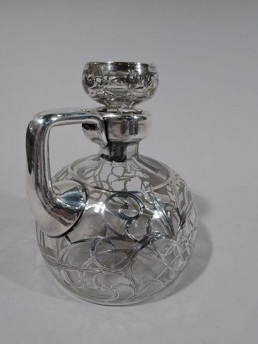 Antique American Art Nouveau Silver Overlay Jug Decanter