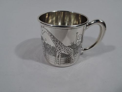 American Art Deco Sterling Silver Baby Cup with Circus Animals