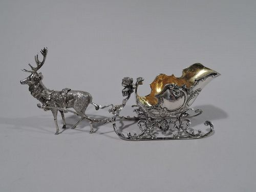 Antique German Rococo Silver Reindeer-Harnessed Sleigh