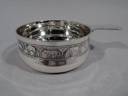Tiffany American Modern Sterling Silver Noah's Ark Porringer